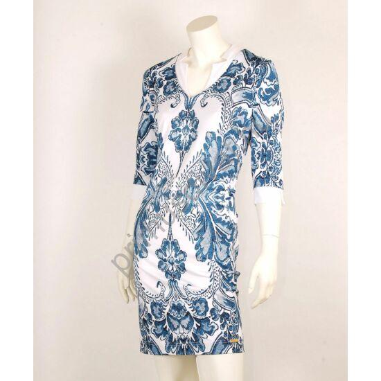 Mystic Day fehér cikk-cakk galléros, kék-fehér hímzésmintás háromnegyedes ujjú Ivon ruha