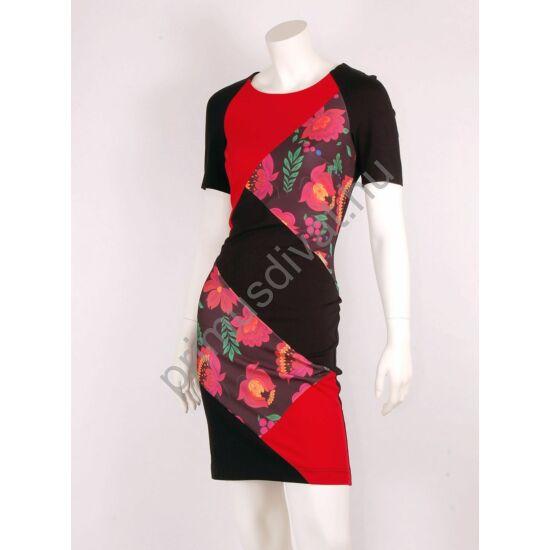 Mystic Day részekből szabott, matyó mintás betétes rövid ujjú piros-fekete Atália ruha