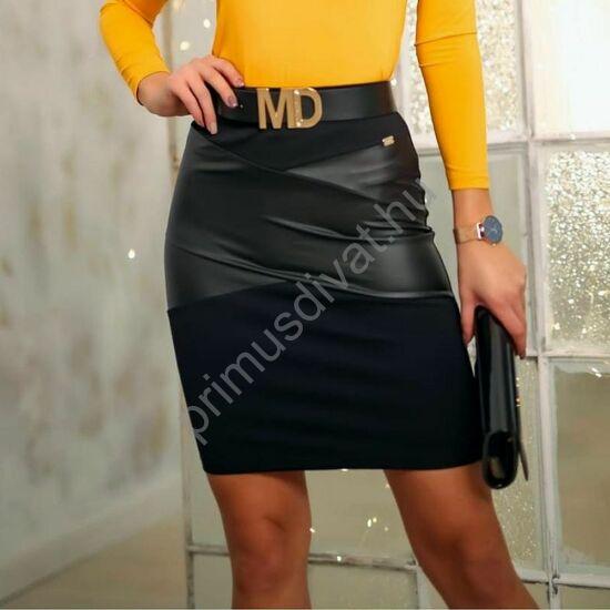 Mystic Day textilbőr betétes gumis, magas derekú fekete miniszoknya, jó tartású rugalmas anyagból (öv nélkül)