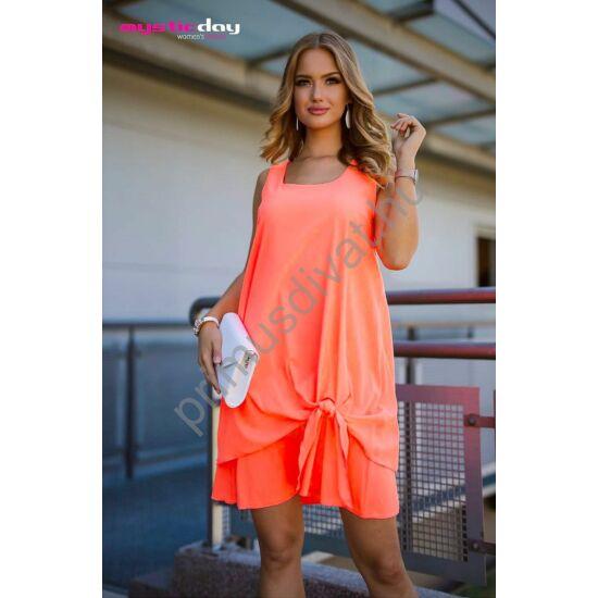 Mystic Day A-vonalú, lefelé bővülő két rétegű lenge ujjatlan neon narancs színű muszlin ruha
