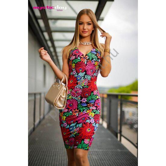 Mystic Day V-nyakú, színes virágos hímzésmintás ujjatlan viszkóz Liza ruha