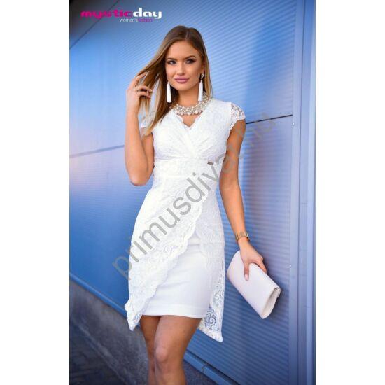 Mystic Day átlapolt hatású ujjatlan, alábélelt fehér csipke alkalmi Trixi ruha