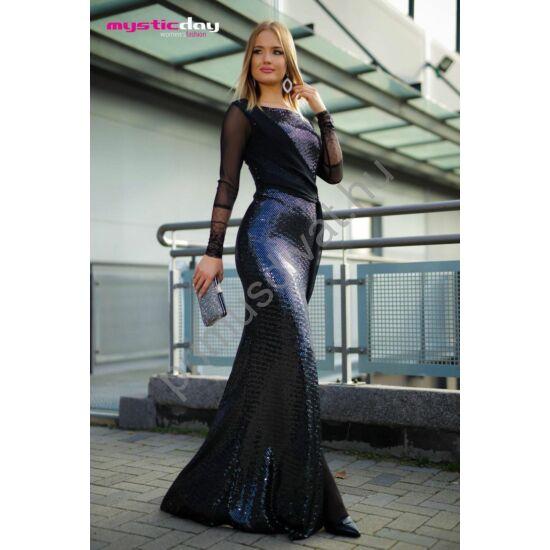 Mystic Day muszlin hosszú ujjú flitteres fekete alkalmi maxi ruha, elején aszimmetrikus muszlin stólás rátéttel