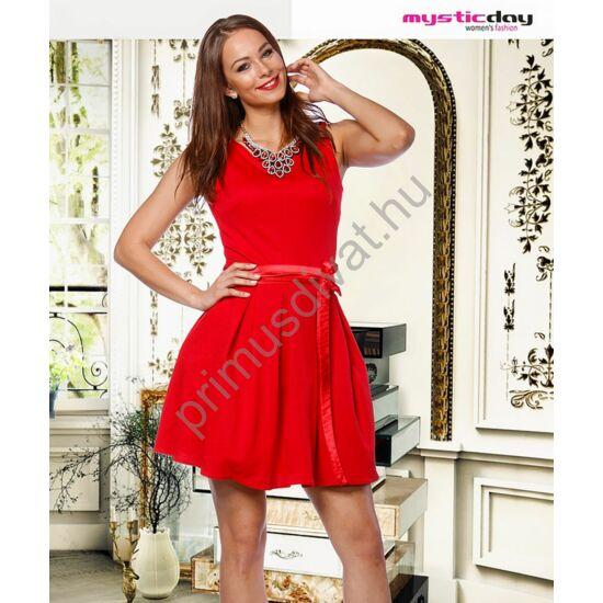 Mystic Day anyagában domború mintás piros, tüllel és szaténnal alábélelt loknis, ujjatlan alkalmi ruha