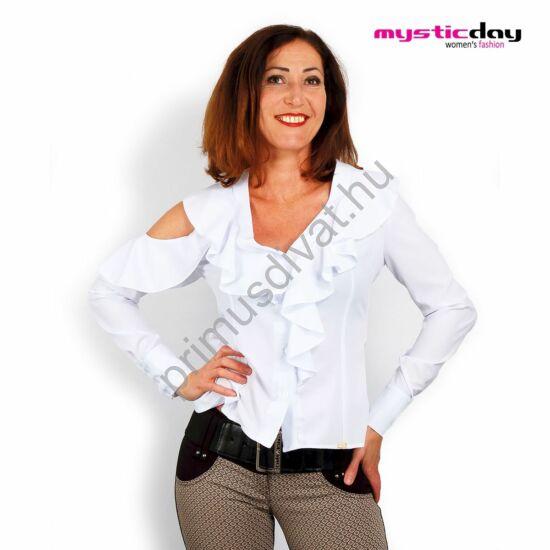 Mystic Day jobb vállán nyitott, hosszú ujjú fodros fehér elasztikus puplin blúz