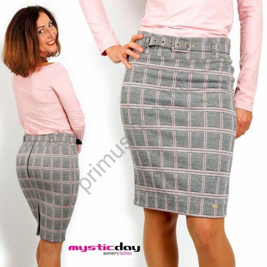 Mystic Day szürke-rózsaszín kockás, térdig érő, jó tartású elasztikus szoknya, övvel