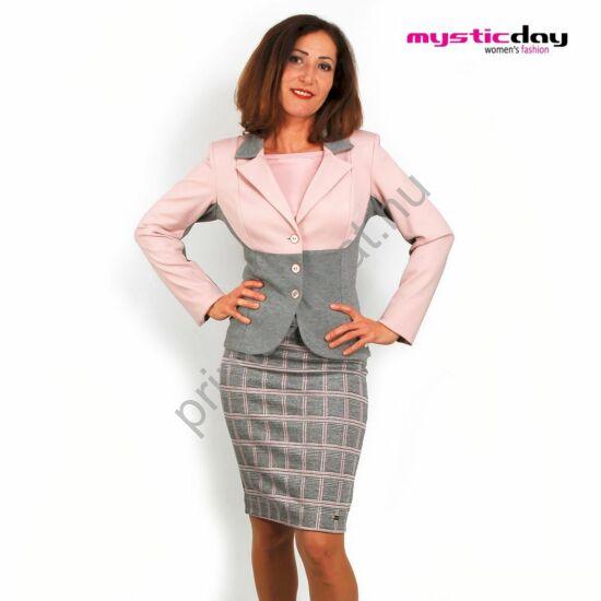 Mystic Day rózsaszín-szürke színű három gombos karcsúsított blézer, kabátka