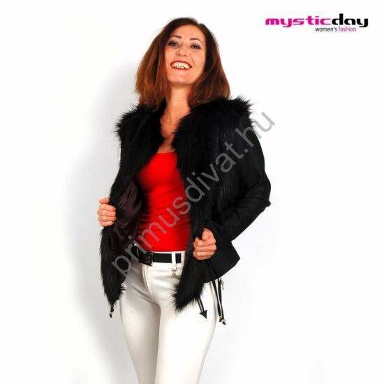 Mystic Day műszőrme rátétes fekete műbőr kabátka, elején megkötővel, selyem béléssel