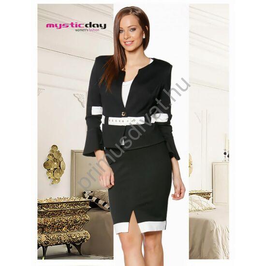 Mystic Day fekete, fehér betétes, tölcsér ujjú kosztüm, elején sliccelt szoknyával, övvel