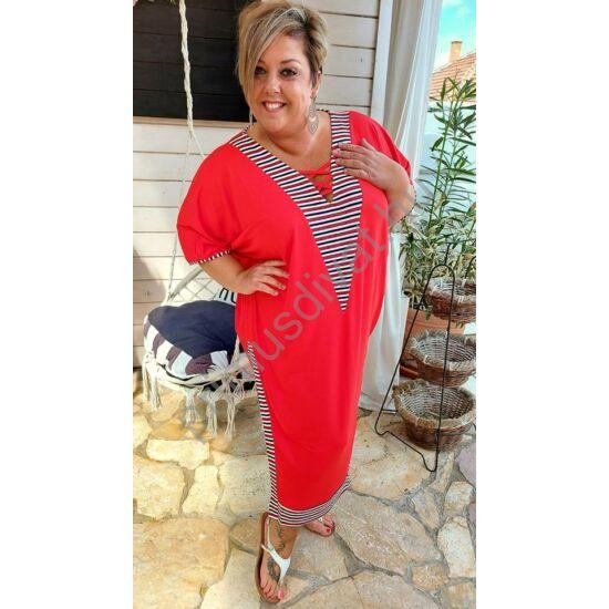 Fashion by Nono csíkos betétes V-nyakú, keresztpántos dekoltázsú, két oldalt felsliccelt lenge piros nyári Viki ruha