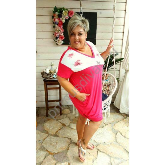 Fashion by Nono V-nyakú, két oldalán behúzott kötővel ráncolható, aszimmetrikus betétes pink Zoé tunika, miniruha