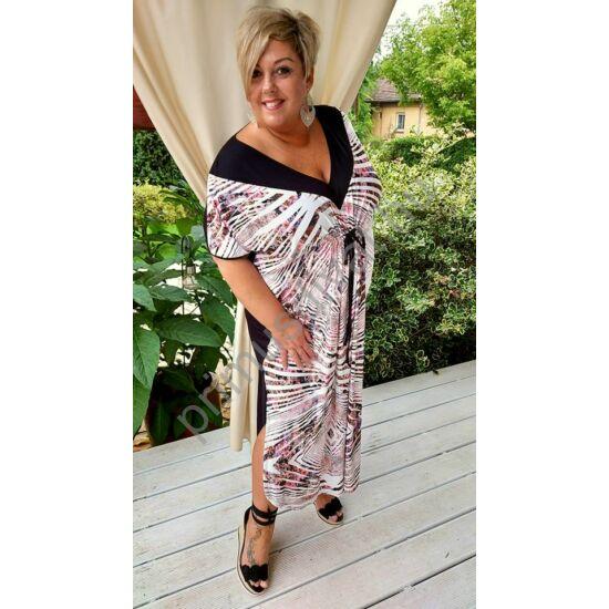 Fashion by Nono V-nyakú, mell alatt húzott fekete-mályva mintás lenge nyári Kaftán ruha, oldalán felsliccelve