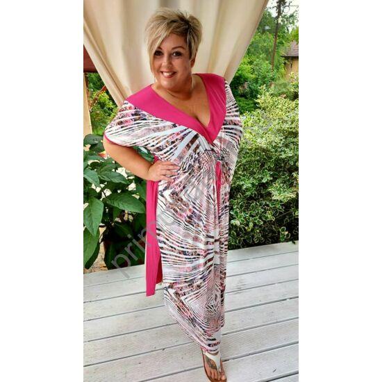 Fashion by Nono V-nyakú, mell alatt húzott pink mintás lenge nyári Kaftán ruha, oldalán felsliccelve