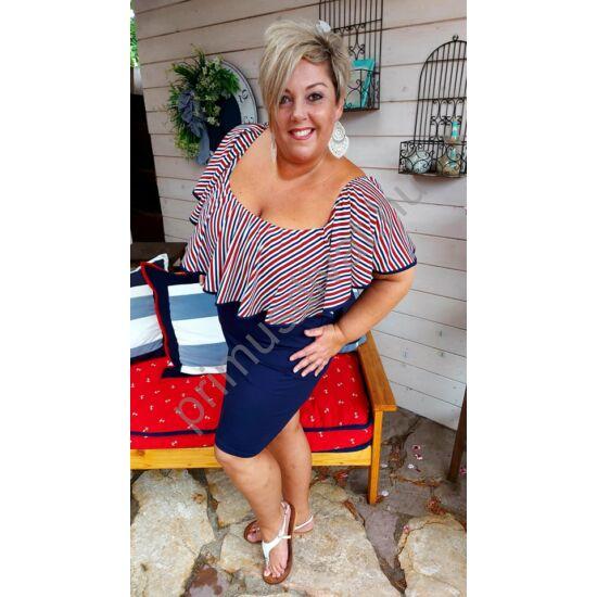Fashion by Nono kék-fehér-piros csíkos fodorrátétes gumis nyakú sötétkék Flóra ruha