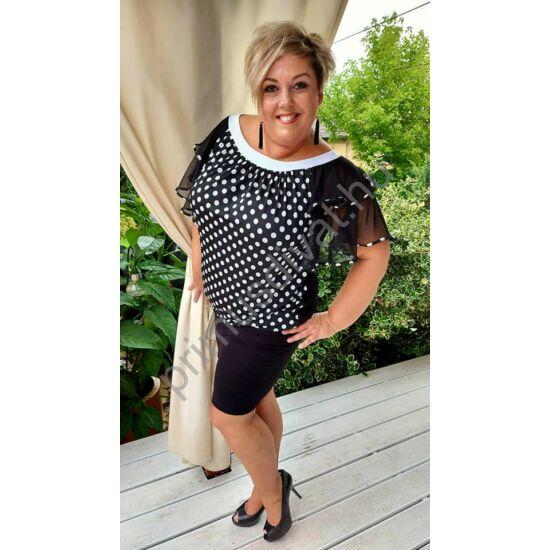 Fashion by Nono fekete-fehér pöttyös, fodros necc ujjú, rugalmas aljú lezser alkalmi Andi ruha