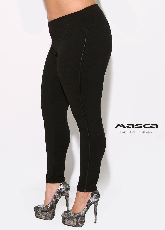 fbc9dcd39 Masca Fashion magasított derekú, fekete elasztikus punto cicanadrág, műbőr  paszpóllal - Mf738-7