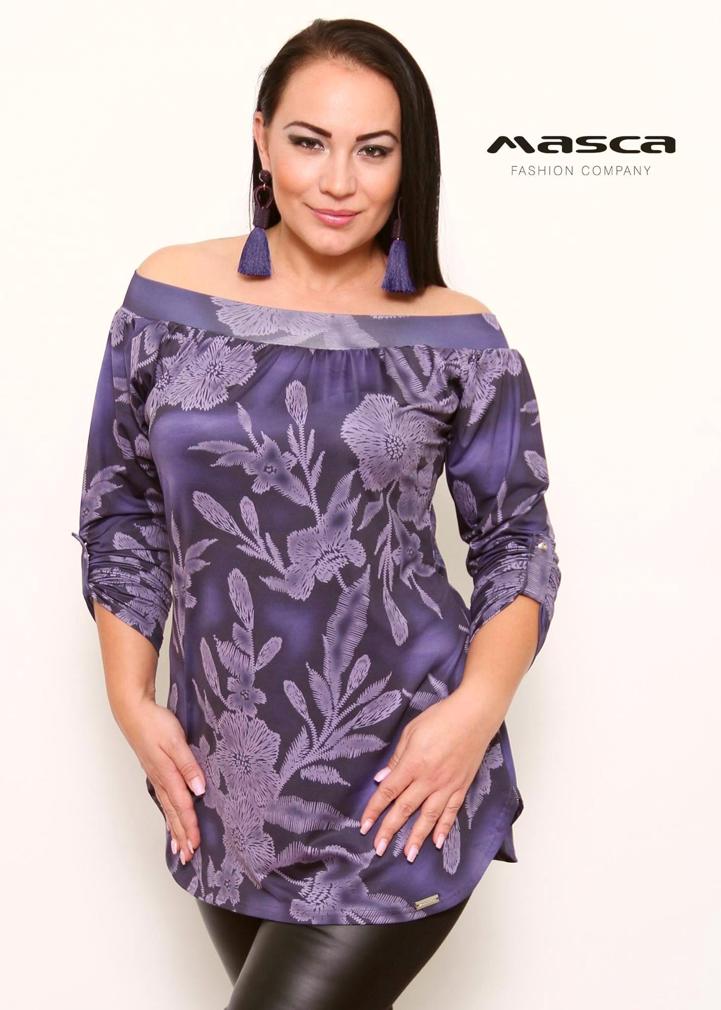 32f5ae6d54  Masca Fashion vállra húzós lilás mintás tunika felcsatolható ujjal