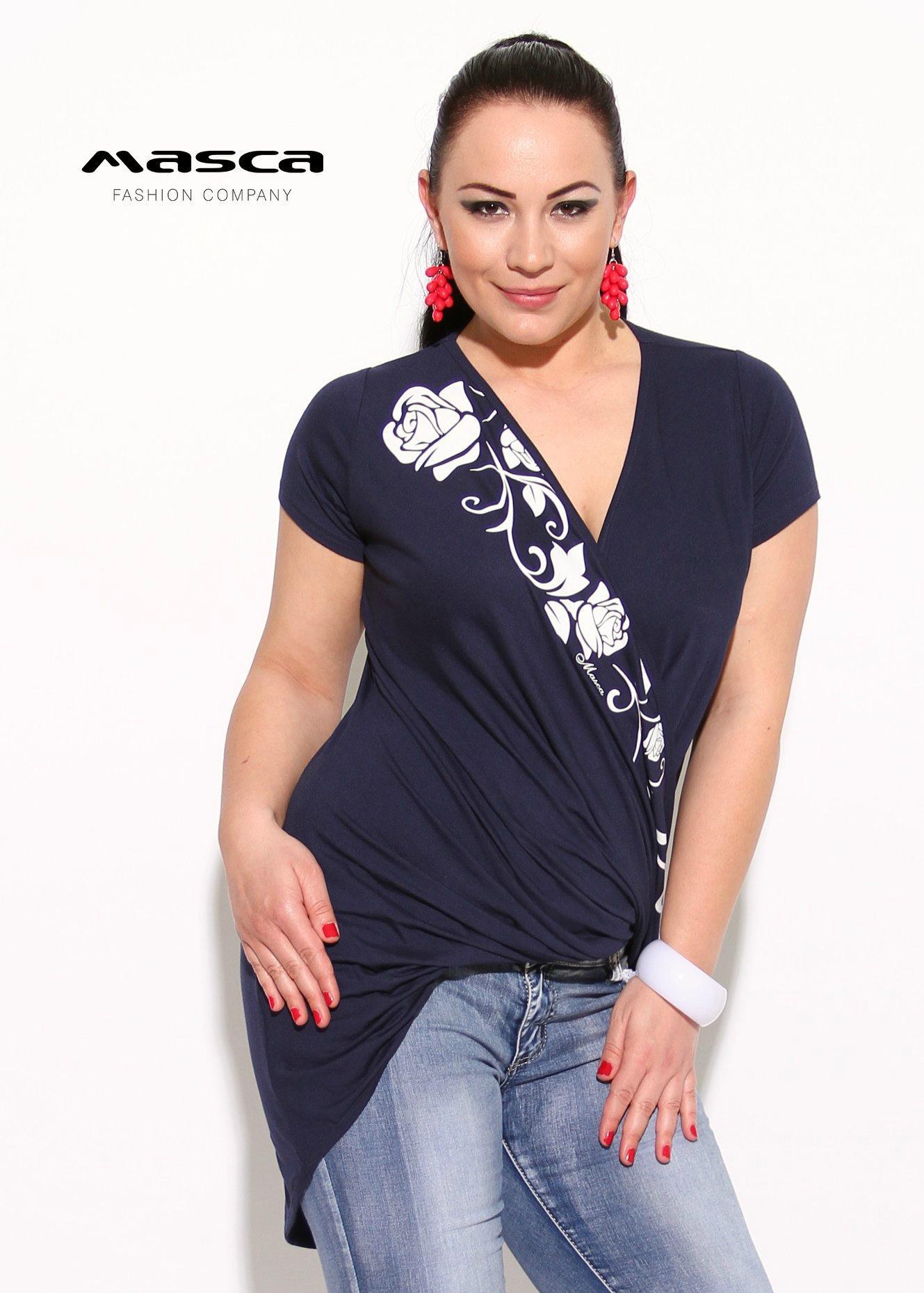 e93f01de7a Masca Fashion csavartan átlapolt elejű, rövid ujjú sötétkék felső, tunika