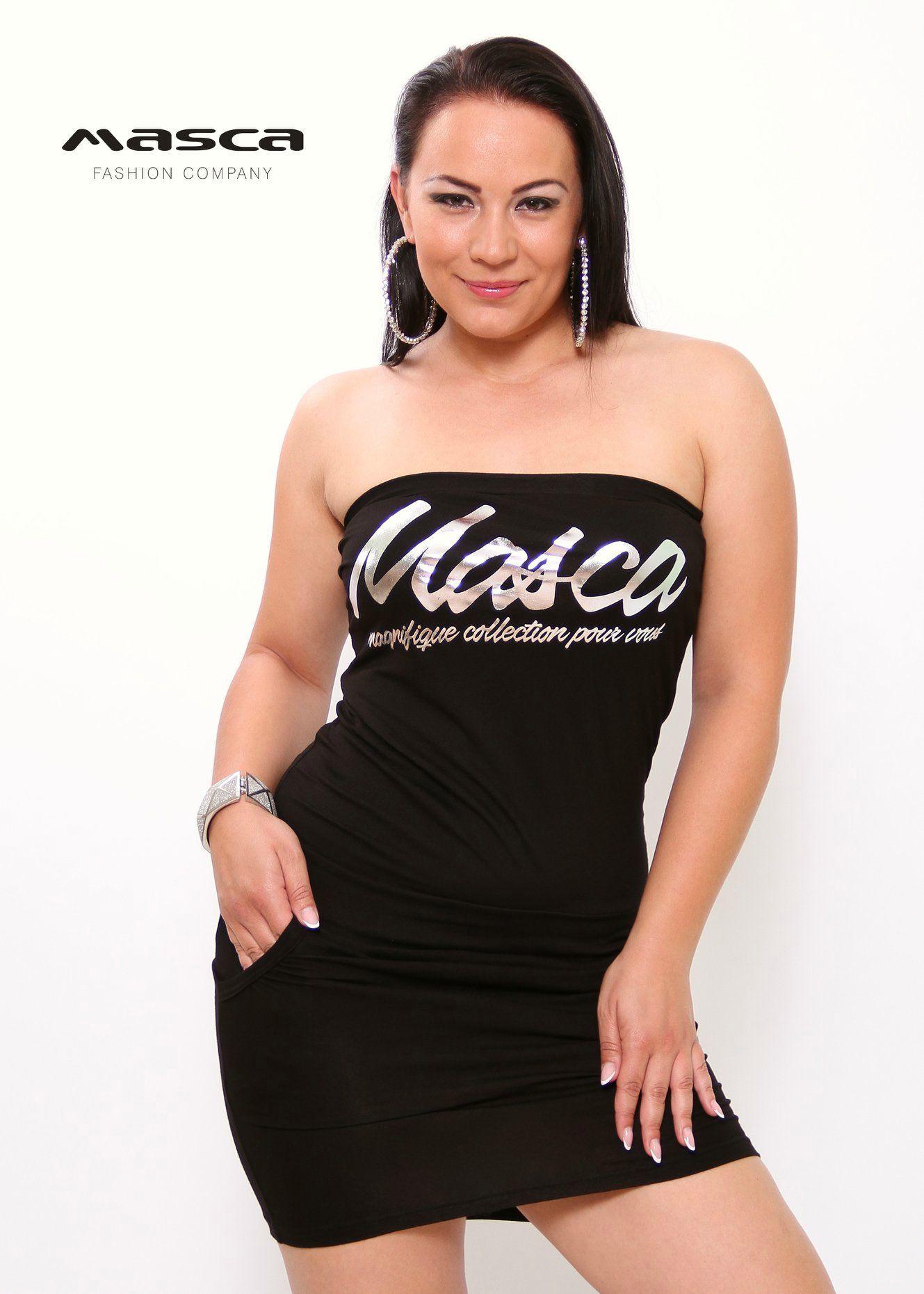 f937c877db Masca Fashion pánt nélküli zsebes fekete miniruha ezüst márkafelirattal