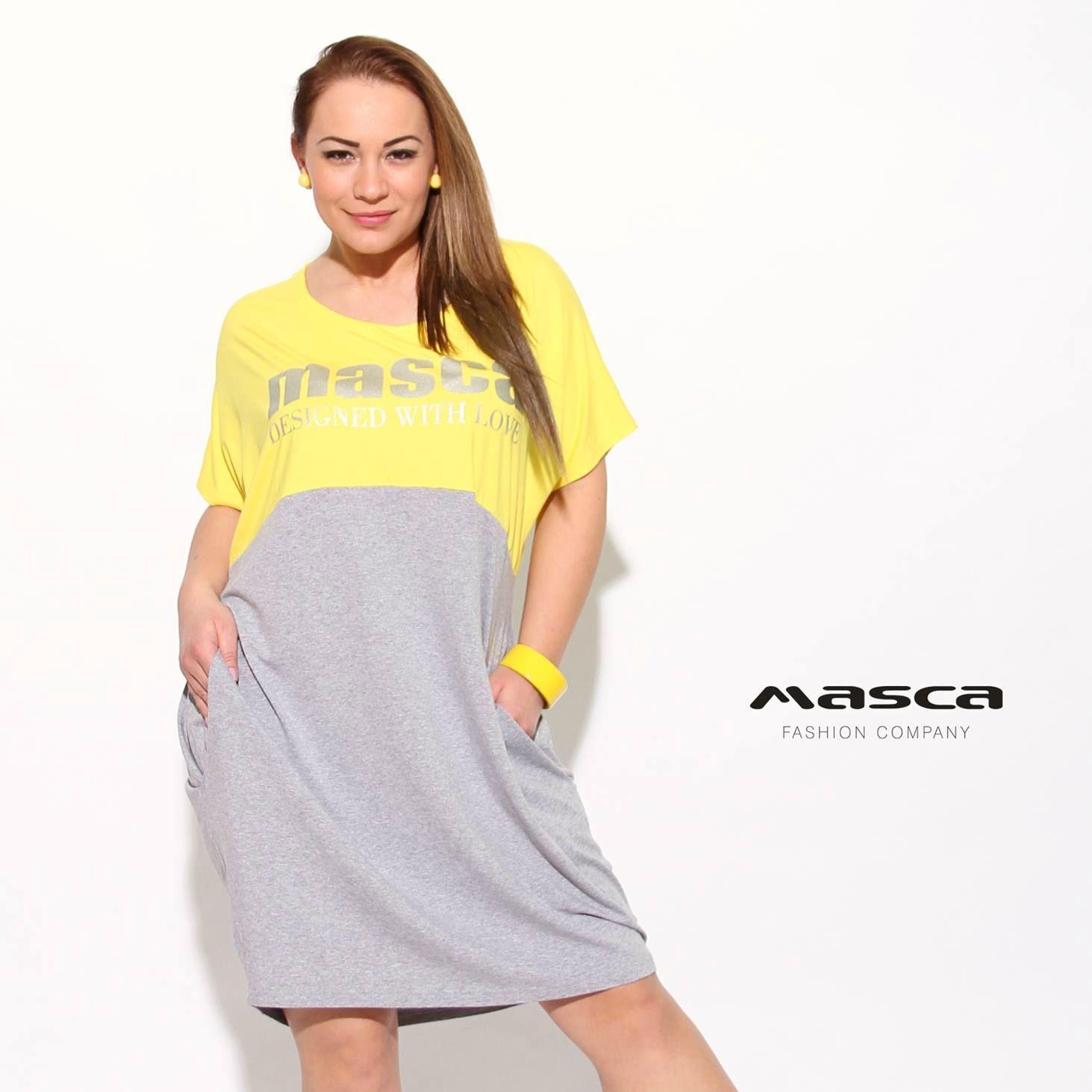 3b67eec9c6 Masca Fashion rövid ujjú lezser zsebes, sárga-szürke bő tunika, miniruha