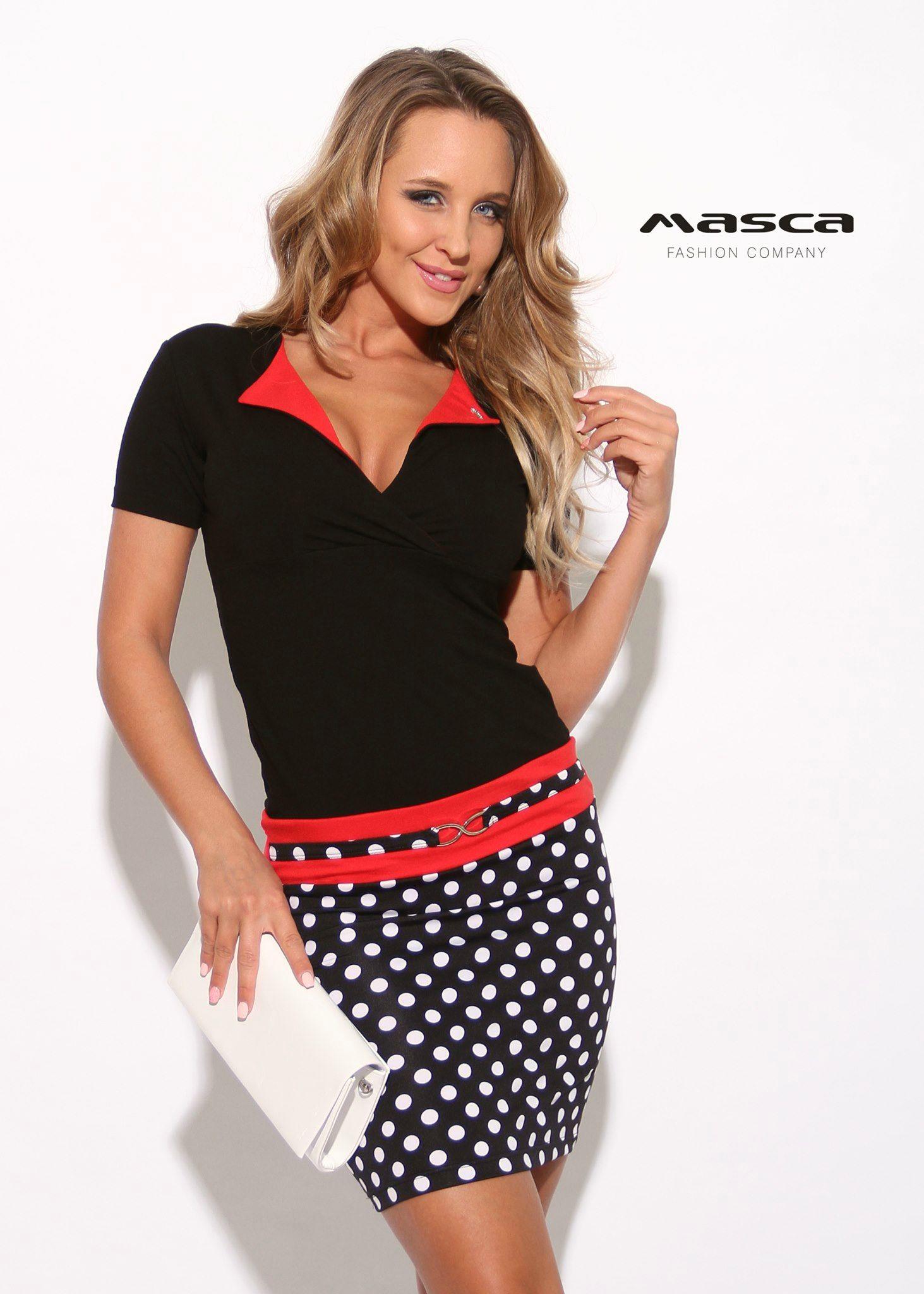 ae0ac2a9e3fa Masca Fashion piros betétes kihajtós galléros fekete, fehér pöttyös aljú  miniruha