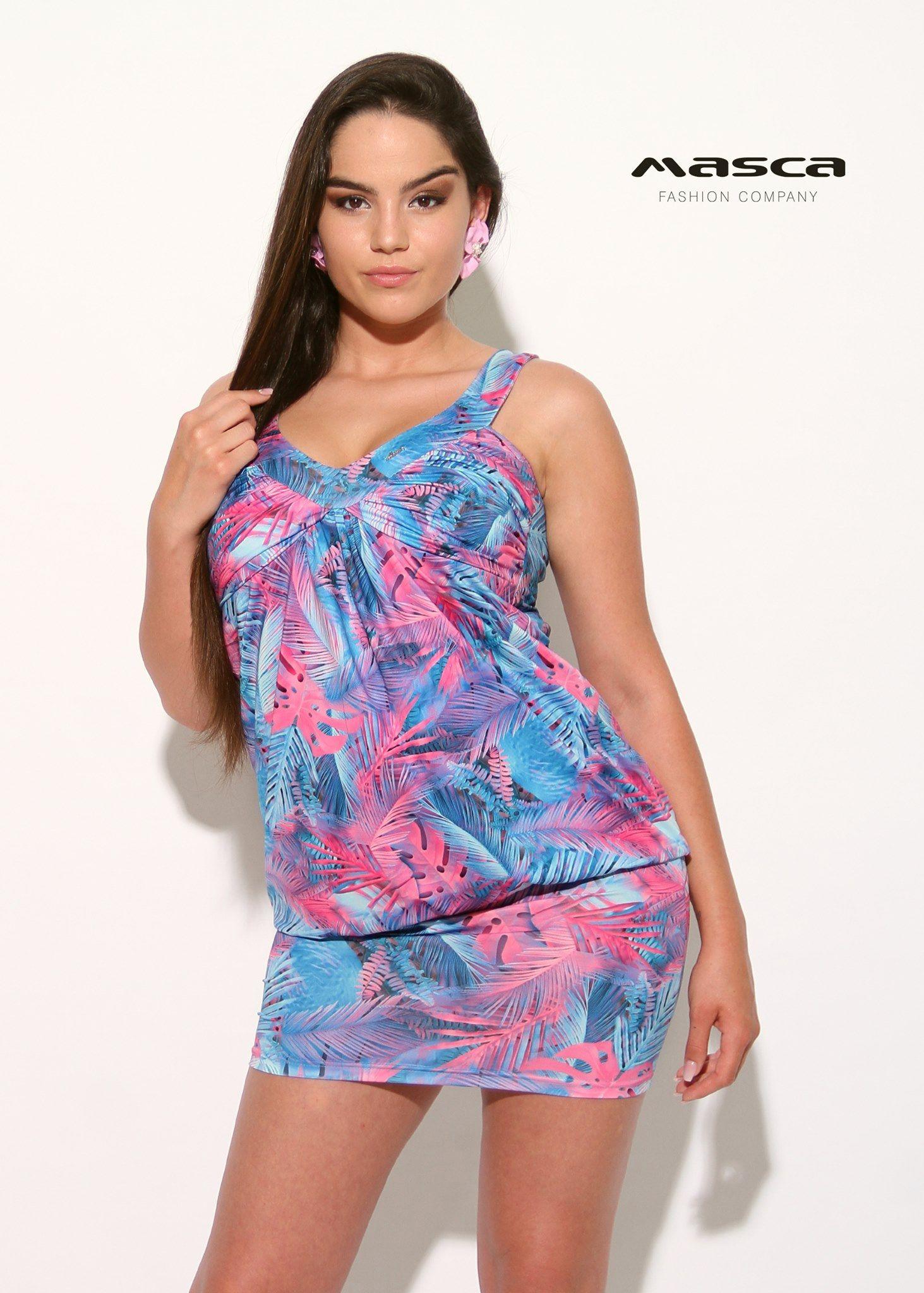 f99637c949 Masca Fashion ráncolt mellrészű kék-pink dzsungelmintás laza tunika,  miniruha