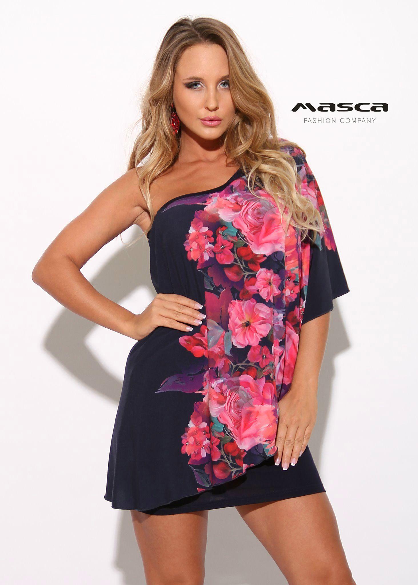 3ca9c98a58a4 Masca Fashion kétrétegű sötétkék miniruha rózsás felső réteggel